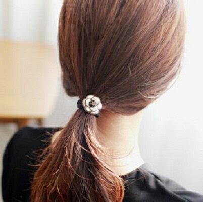 PS Mall 韓國飾品山茶花 花朵鴨嘴夾邊夾髮夾配套髮圈 髮繩頭髮飾~G2072~ ~