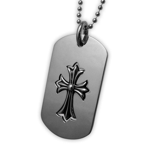 【海外訂購】【Chrome Hearts】半鏤空十字架純銀軍牌項鍊 Cut out cross / cross (CHDT-022  0107520000) 0