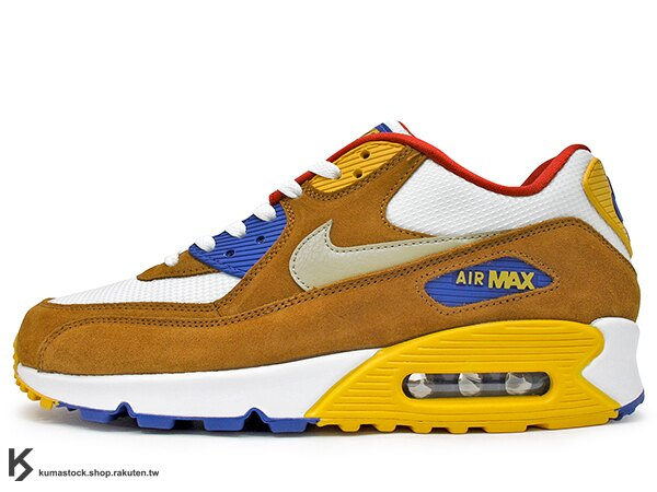 2016 NSW 經典復刻鞋款 人氣商品 NIKE AIR MAX 90 PREMIUM PRM 白土黃金藍紅 網布 麂皮 氣墊 慢跑鞋 AM (700155-107) 0316