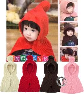 童衣圓【R050】R50毛球披肩帽 毛線 針織 彈性 脖圍 圍脖 連帽 披肩 披風 保暖 優雅大方 單一碼