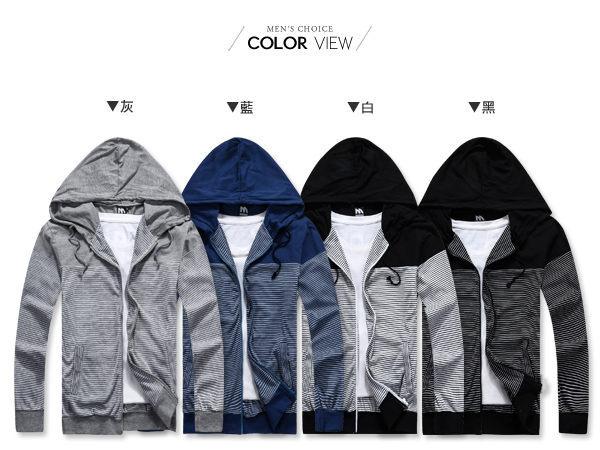 ☆BOY-2☆【OE30017】韓版休閒條紋連帽外套 1