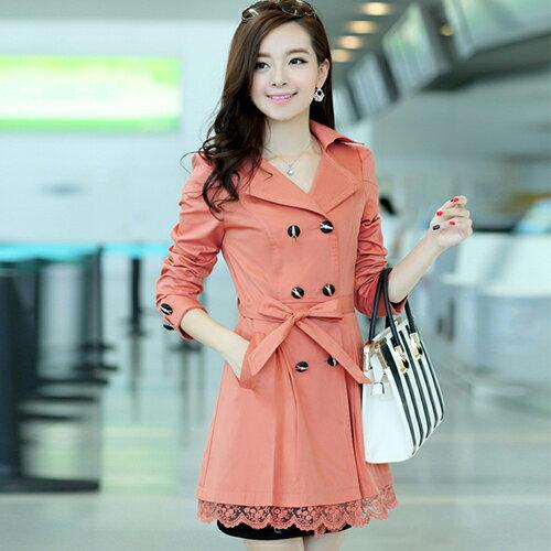 洋裝外套 - 修身雙排扣翻領蕾絲風衣外套【29029】藍色巴黎《4色》現貨+預購 1