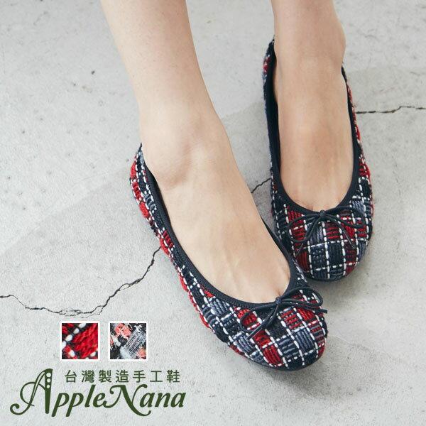 AppleNana。秋冬必備毛呢腳窩支撐芭蕾舞鞋【QD15011180】蘋果奈奈 0