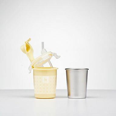 美國【Kangovou】 小袋鼠不鏽鋼安全兒童餐具簡配組(檸檬黃) 2