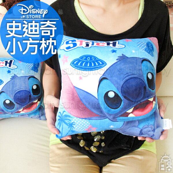 日光城。史迪奇方型小午安枕,迪士尼星際寶貝抱枕車枕小枕頭絨毛枕靠墊辦公室療癒交換禮物