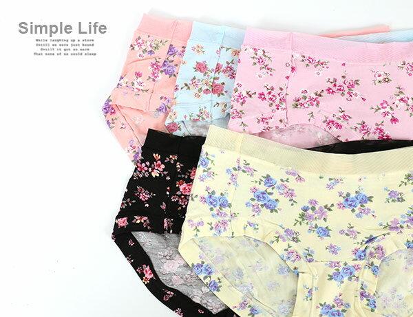 3件199免運【AJM】莫代爾纖維 典雅玫瑰低腰三角褲3件組(隨機色) 1