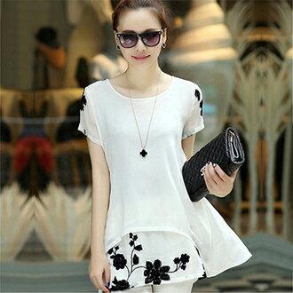 刺繡雪紡長版上衣(2色M-3XL)