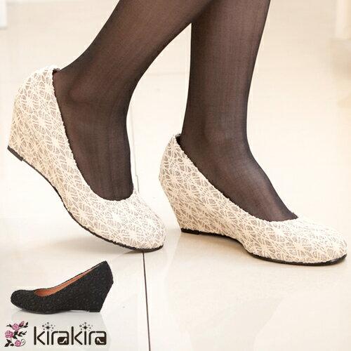 楔型跟鞋-特價優惠-優雅蕾絲閃耀金蔥鞋.現+預【011300709】