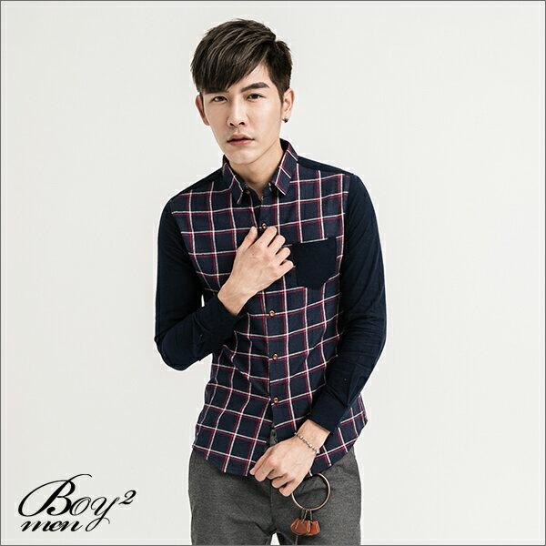 ☆BOY-2☆ 【NQ97011】長袖襯衫大格紋撞色口袋 5