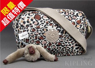 【momi宅便舖】【Kipling 比利時品牌 】豹紋點點戶外休閒斜背包 /側背包