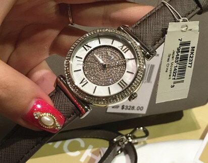 美國Outlet 正品代購 MichaelKors MK 銀鑲鑽 深咖色皮帶三環計時手錶腕錶 MK2377 3