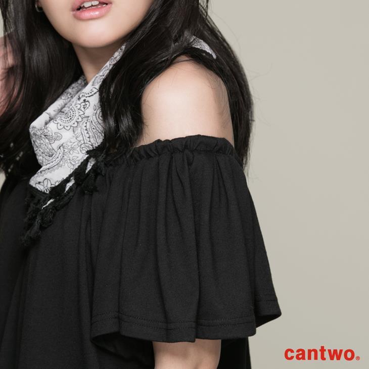 cantwo素面一字領假兩件洋裝(共二色) 4