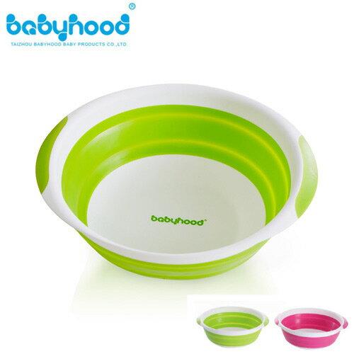 【奇買親子購物網】baby hood 折疊小臉盆(綠色/桃紅色)