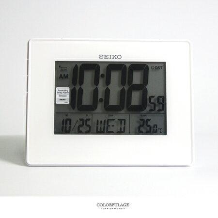 時鐘 SEIKO精工白色電子式鬧鐘 冷光液晶顯示大字座鐘 座掛兩用 柒彩年代【NV1709】原廠公司貨 - 限時優惠好康折扣
