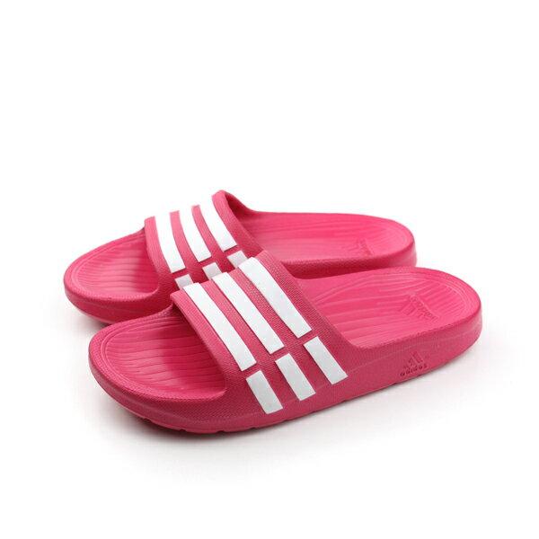 adidas 拖鞋 童鞋 桃紅色 童 no321