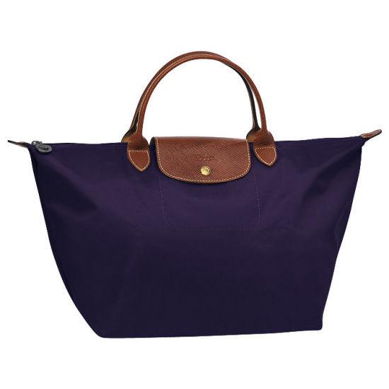 [1623-M號] 國外Outlet代購正品 法國巴黎 Longchamp 短柄 購物袋防水尼龍手提肩背水餃包 深紫色 0