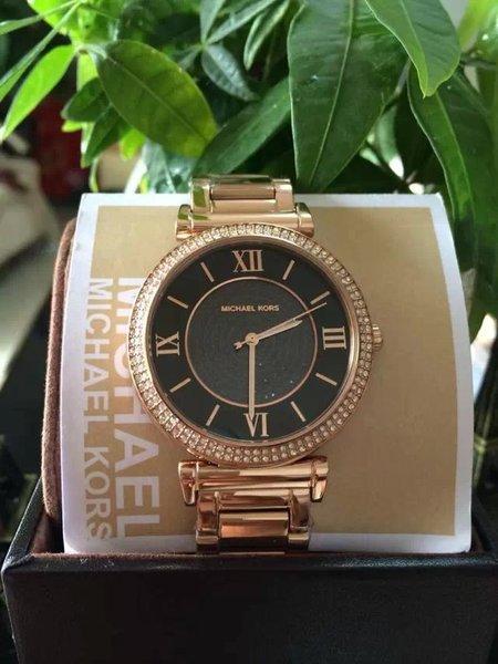 美國Outlet正品代購 MichaelKors MK 復古羅馬滿天星貝殼面鑲鑽黑玫瑰金     手錶 腕錶 MK3356 6