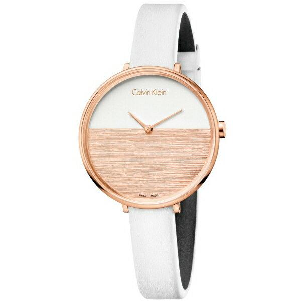 CK 晨曦系列(K7A236LH)旭日平洋腕錶/白+玫瑰金面38mm