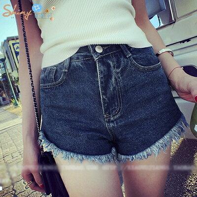 【V535】shiny藍格子-活力玩味.簡約街頭顯瘦毛邊下擺牛仔短褲