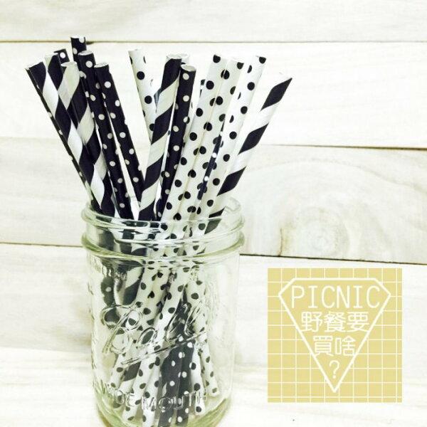 《野餐要買啥》黑白交織彩色環保紙吸管(宴會派對生日婚禮梅森瓶果汁飲料玻璃罐)