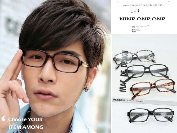 *911 SHOP*【ob825】百搭中性方框平光眼鏡附眼鏡盒抗UV400