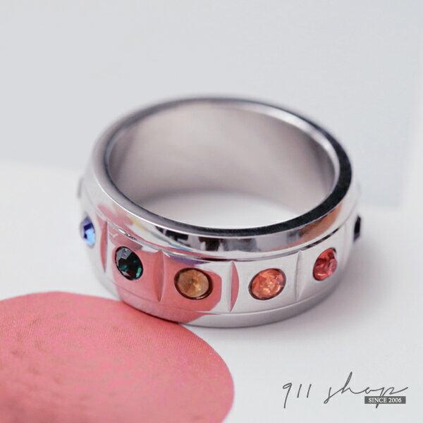 Brisk.鈦鋼精飾。七彩寶石滿鑽開運幸運戒指 (可另購刻字)【L196】*911 SHOP*