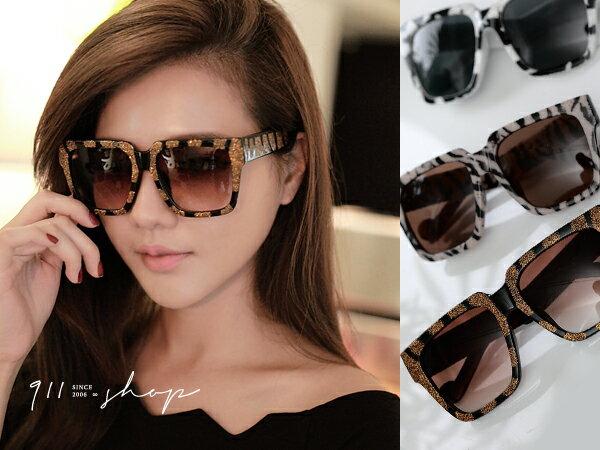 *911 SHOP*【f710】XOXO.歐美潮款寬版大方框動物紋太陽眼鏡