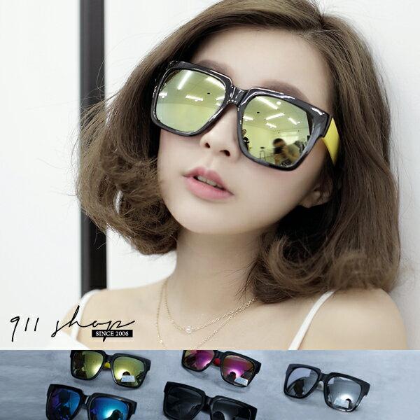 Crystal.MIT台灣製。俏皮彩色腳水銀鏡片大方框粗膠框太陽眼鏡uv400【f725】*911 SHOP*
