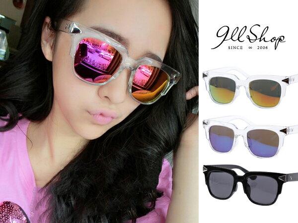 *911 SHOP*【f790】Sassy.復古立體方框箭頭亮鏡水銀透明膠框太陽眼鏡