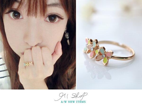 *911 SHOP*【ha014】Fancy.韓國直送。可愛馬卡龍色系 四瓣花鑲鑽可調式戒指