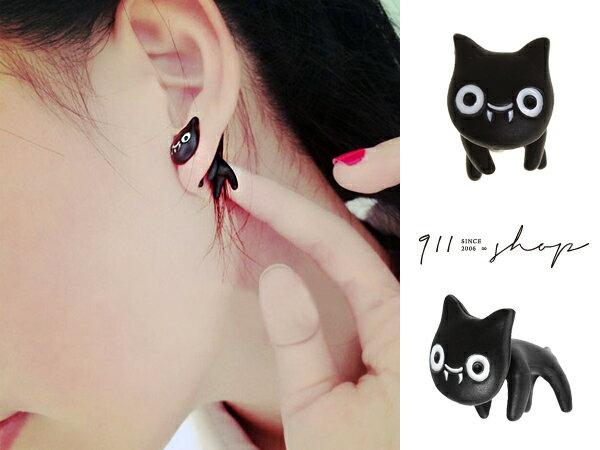 *911 SHOP*【ha499】Eternal.立體吸血鬼小黑貓後扣式穿針耳環