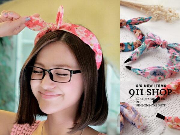 *911 SHOP*【hb003】Vogue.韓國配件.和風碎花雪紡立體兔耳可彎曲髮帶髮箍-7款