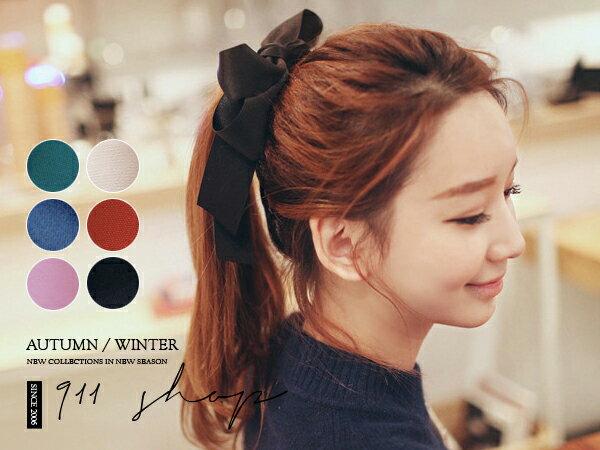 *911 SHOP*【hb017】Dazzling.韓國帶回。雙層緞帶大蝴蝶結髮束/髮圈