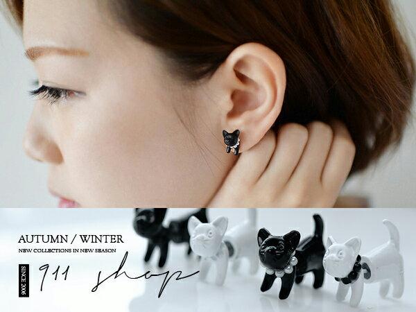 *911 SHOP*【hc037】Sweet.韓風可愛貓咪立體穿針耳環