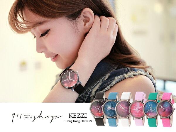 *911 SHOP*【ta334】Bloom.港牌KEZZI。迷幻星空圖紋多彩皮革錶帶手錶