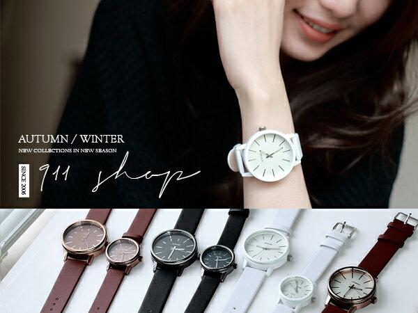*911 SHOP*【ta113】Chic.港牌sinobi-時尚簡約刻度厚實玻璃皮革手錶/對錶