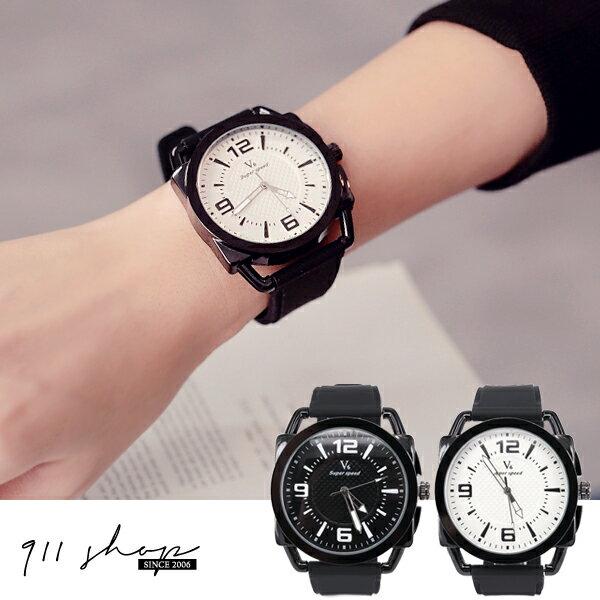 Brisk.V6品牌~鏤空框格紋超大錶面矽膠錶帶手錶~ta489~~911 SHOP~
