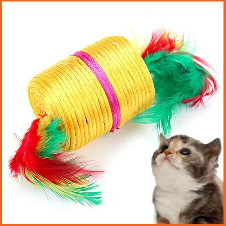 【小樂寵】彩繩雙頭羽毛小滾柱玩具