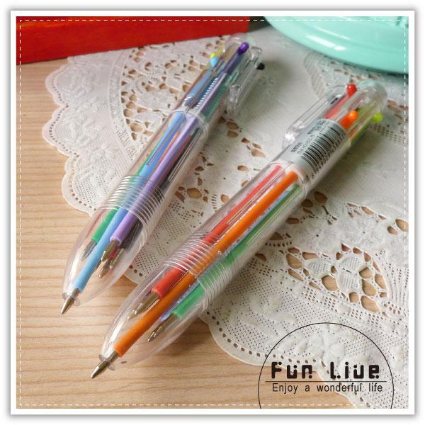 【aife life】透明6合1原子筆/彩色原子筆/六合一原子筆/多色中性筆/廣告 贈品筆/贈品禮品/文具用品