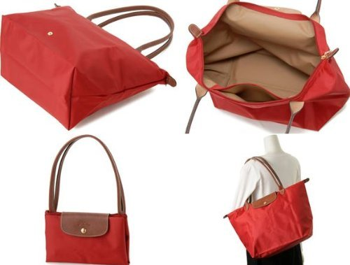 [1899-M號] 國外Outlet代購正品 法國巴黎 Longchamp 長柄 購物袋防水尼龍手提肩背水餃包紅色 3