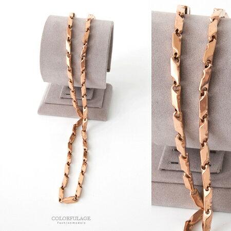 項鍊 經典玫瑰金個性重磅數造型鍊子項鍊 精緻白鋼 超質感選擇 柒彩年代【NB678】華麗造型 0