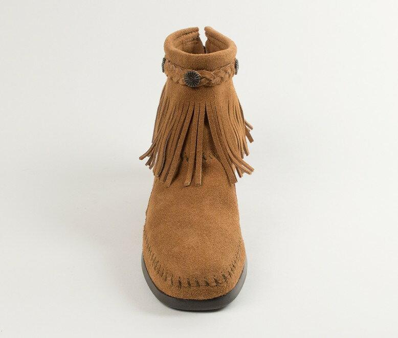 【Minnetonka 莫卡辛】土駝色 - 麂皮後拉鍊流蘇莫卡辛短靴 3