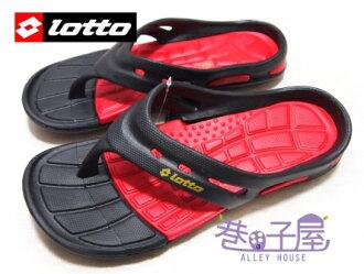 【巷子屋】義大利第一品牌-LOTTO樂得 男款世足風潮紀念人字拖鞋 [2030] 黑 超值價$198