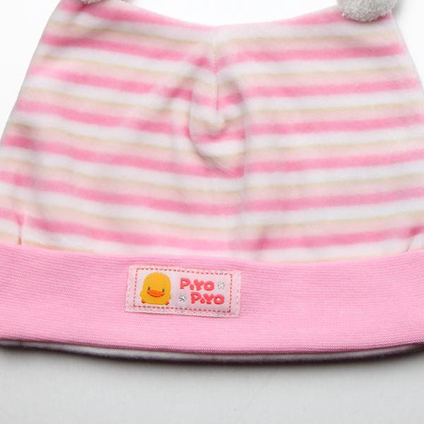 『121婦嬰用品館』黃色小鴨 橫條雙角嬰兒帽 3