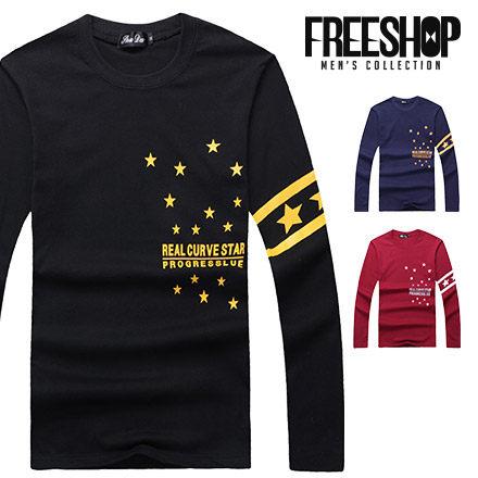 長T Free Shop~QR95053~美式撞色星星文字袖邊條紋膠印圓領棉質長T長袖上衣