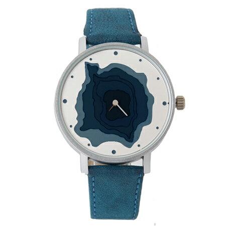 手錶 無數字漸層凹面地形造型質感皮革錶帶腕錶 巧思特別設計 柒彩年代【NE1683】獨特有型 0