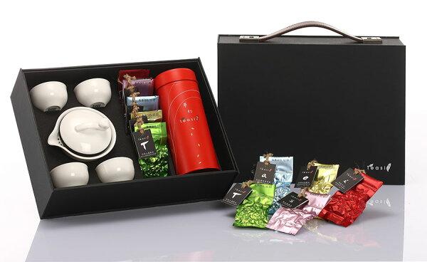 【Teasi台灣茶】環保行動品茶組(坪林文山50g+五款精緻隨身茶葉包+輕巧茶具組)