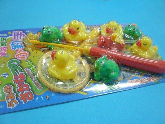 黃色小鴨青蛙釣魚組 日系戲水童玩釣魚組D452小釣手鴨子.青蛙釣釣樂^(9件入^) 一卡入