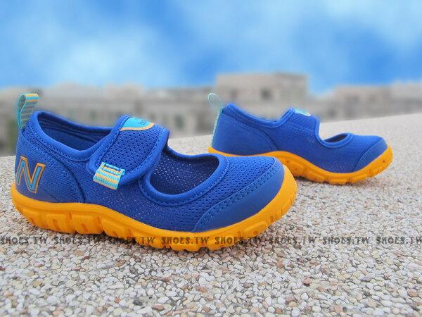 Shoestw【KA207PBI】NEW BALANCE 涼鞋 拖鞋 童鞋 小童鞋 黏帶 藍橘 免綁帶