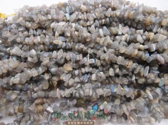 白法水晶礦石城 天然-拉長石 5mm至8mm (有穿孔)礦質 碎石 串珠/條珠  首飾材料(一件不留清五折區)